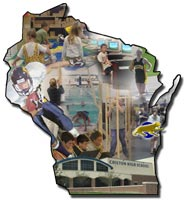 Very small montage of Chilton Public Schools activties within a Wisconsin-shaped frame.